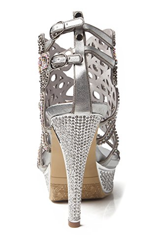 Microfiber Sandals Honeystore Pumps Platform Women's Heels Silver Stiletto Rhinestones Shoes qqHYx7P