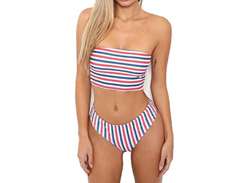 poweimm Athletic-two-piece-swimsuits Swimsuits Sexy Printed Swimwear Striped Chest Bikini Swimwear ()