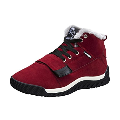 Elevin (tm) 2018men Winter Warme Casual Sport Lace-up Lage Enkelband Platte Snowboots Schoenen Rood