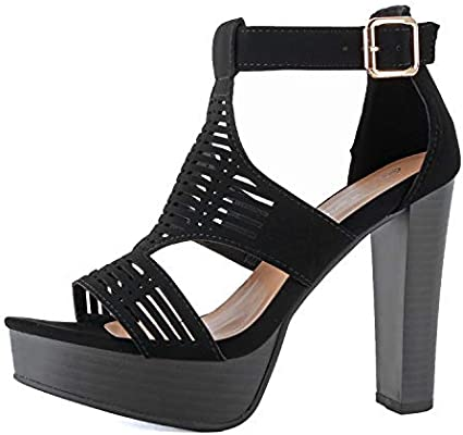 24f9735b2eb Guilty Shoes - Womens Cutout Gladiator Ankle Strap Platform High ...