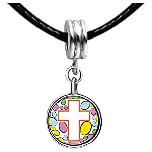 Chicforest Silver Plated Easter Day white cross cartoon Photo Sapphire Crystal September Birthstone Flower dangle Charm Beads Fits Pandora Charm