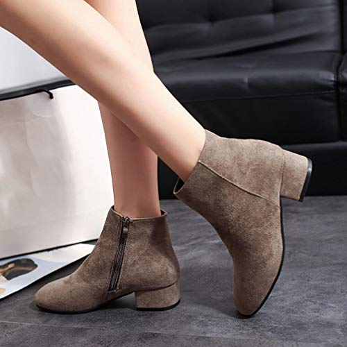 Martin Autumn Block Western Vintage Boots HLHN Brown Zip Heel Women Ankle Shoes Mid Leather Ladies pFqZ1