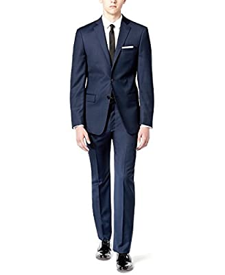 Calvin Klein Men's X Fit Birdseye Slim Fit Suit Blue Pin Dot 2 Piece 100% Wool MBYR2-5FY0507