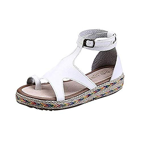 Womens Casual Espadrilles Trim Flatform Wedge Sandal Heeled Sandals Open Toe Ankle Strap Platform Summer Beach Shoes ()