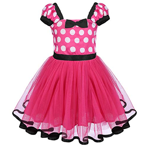 Girls Princess Polka Dots Minnie First Birthday Costume Outfits Baby Kids Ballet Tutu Dance Gown Tulle Cosplay Dress Rose+Black 2-3 -