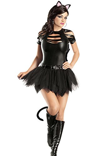 [Mememall Fashion Sexy Mean Kitty Cat Adult Halloween Costume] (Scarlett O Hara Halloween Costumes)