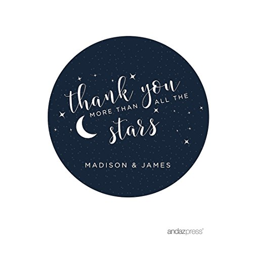 Andaz Press Love You to the Moon and Back Wedding Collection, Personalized Round Circle Label Stickers, Thank You More Than All the Stars, 40-Pack, Custom Name