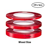 Jackwood 33 Feet Acrylic Double Sided Heavy Duty Mounting Tape (Pack of 3) Weatherproof for Outdoor & Indoor, Holds Heavy Stuff in Cold & Hot Condition, Removable & Residue-Free (Mixed)