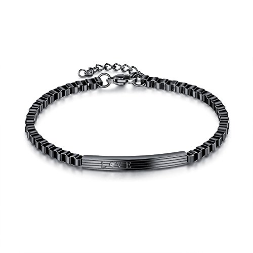 BABYEN New Fashion Hollow Box Chain Link Couple Bracelet Male Female Personalized Statement Bracelets Jewelry (Black-Man) by BABYEN
