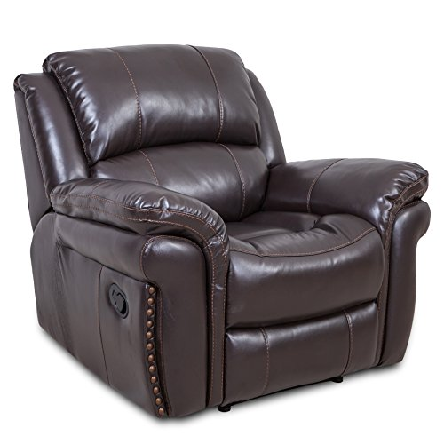 Recliner Single Sofa Chair Bonded Leather Reclining Stretch Sofa For Living Room Lounge (Reclining Bonded Leather)