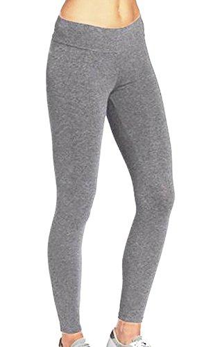 ABUSA Womens Yoga Leggings Power Flex Tummy Control Exercise Running Workout Pants S Gray