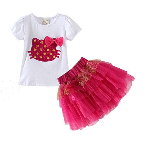 [LittleSpring Baby Girls' Clothes Set Cartoon Size 24M US Red] (Halloween Outfits For Little Girls)