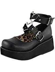 Summitfashions Womens Black Mary Jane Shoes Hearts Studded Ankle Strap 2 1/4 inch Platform