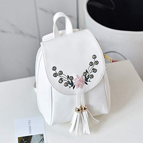College Corsa Blanco Diamant Tamaño Embroidery Femminile Modo Del Bolso Un Blanco De color Style Flowers Eeayyygch Studnen Shoulder Tamaño P5qpw04