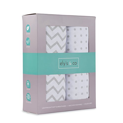 Pack N Play Portable Crib Sheet Set 100% Jersey Cotton Unisex for Baby Girl and Baby Boy by Ely's & Co. (Grey Chevron and Polka Dot) ()
