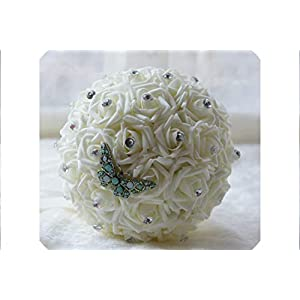 Jifnhtrs Simplish Wedding Bridal Bouquet Bridesmaids PE Foam Roses Flowers Rhinestones Dragonfly Brooches Wedding Bouquet,Cream 37