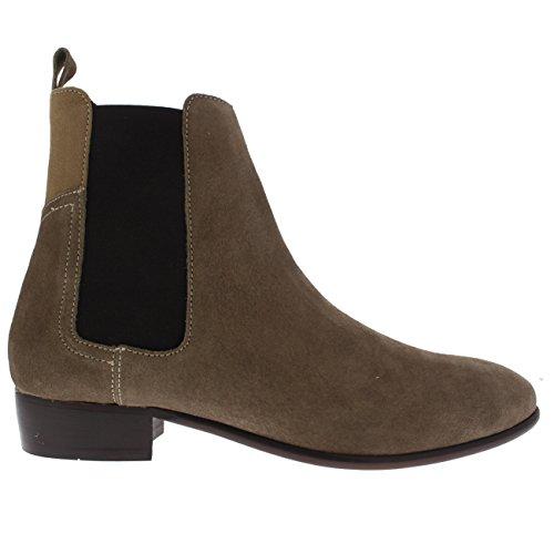 Mens H By Hudson Watt Formella Mocka Kontor Taupe Chelsea Boots Taupe