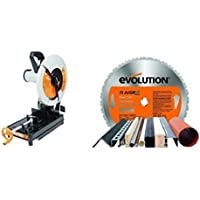 Evolution Power Tools - Build RAGE2 Multi-Purpose Chop Saw, 355 mm (230 V) with Multi-Purpose Carbide-Tipped Blade, 355 mm Bundle