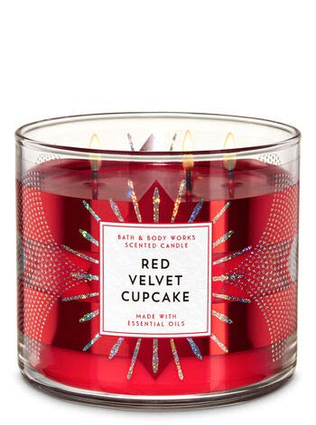 White Barn Bath and Body Works Red Velvet Cupcake 3-Wick Candle Red Starburst Label 14.5 Ounce