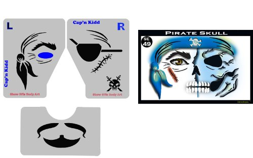 Face Painting Stencil - StencilEyes Pirate Skull - Pirate/Skull Combo (Skull Face Painting For Halloween)