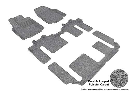 3D MAXpider Complete Set Custom Fit Floor Mat for Select Mazda CX-9 Models – Classic Carpet (Gray)