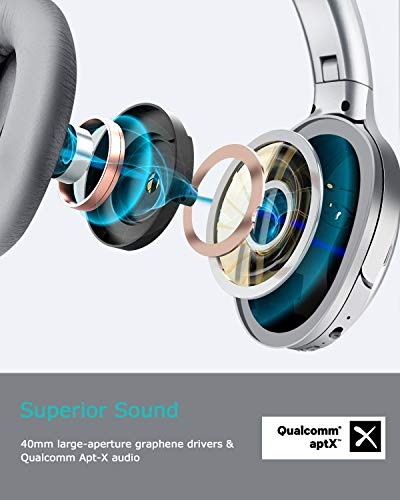 ABLEGRID QuietOdio 10 Hybrid Active Noise Cancelling Headphones, Over Ear Wireless Bluetooth Headphones with 4 Microphones, Hi-Fi Stereo Deep Bass, Soft Protein Earpads, AptX Audio, 35H Playtime