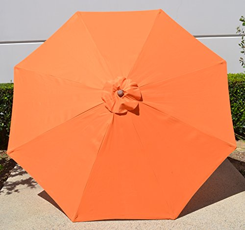 Polyester 9ft – 8 ribs Umbrella Replacement Canopy Only – Orange Review