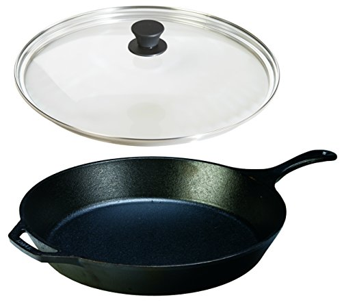 Lodge Seasoned Cast Iron Skillet with Tempered Glass Lid (15 Inch) - Cast Iron Frying Pan with Lid Set