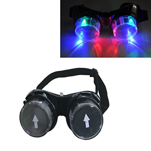 LED Color Changing Cup Goggles - Luwint Steampunk Light Up Toy Glasses for Party Cosplay - with Color Gift