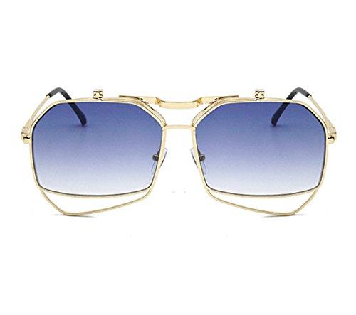 hommes flip de lunettes pour Or vintage gothique et femmes Huateng de Double Bleu Lunettes soleil soleil qnWwXvn0U