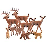 TUPARKA 9Pcs Forest Animals Set, Miniature Figures Woodland Animals Deer Figurine, Dog, Rabbit, Bear Figure Miniature Animals Woodland Cake Toppers