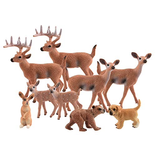 Miniature Dog Figure - TUPARKA 9Pcs Forest Animals Set, Miniature Figures Woodland Animals Deer Figurine, Dog, Rabbit, Bear Figure Miniature Animals Woodland Cake Toppers