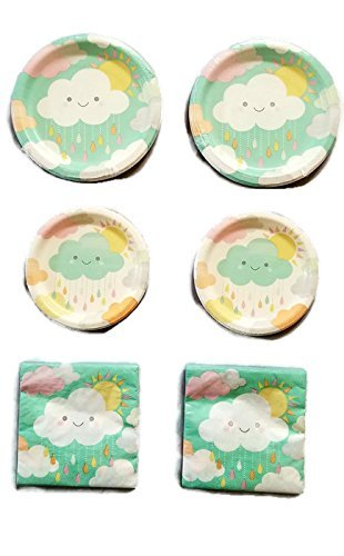 Sunshine Baby Shower With Clouds 9'' Plates (16) 7'' Plates (16) Napkins (32)
