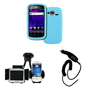 EMPIRE Pantech Burst P9070 Silicone Skin Case Cover (Light Blue) + Car Windshield Mounts + Car Charger [EMPIRE Packaging]