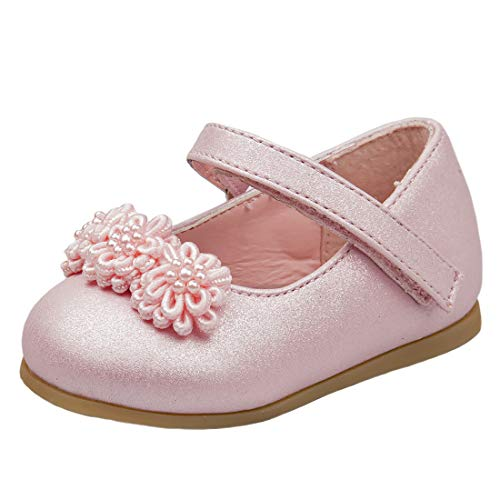 Flat Rhinestone Pull - Josmo Baby Girl\'s Patent Dressy Shoe Chiffon Flower (Infant, Toddler) (6 M US Toddler, Pink Flower)'