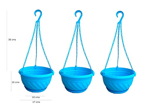 Cocogarden Hanging Pot with Hooks (Blue, Pack of 3)