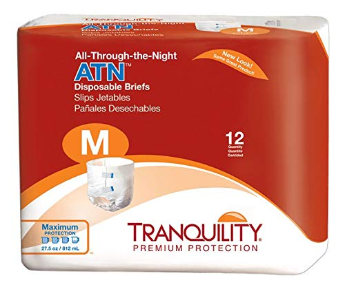 Tranquility ATN All-Through-the-Night Disposable Adult Diapers - Medium - 32 -44 Inch (Tranquility Premium Overnight Pull On Diapers Size Medium)