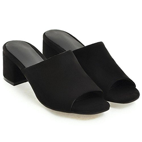 Peep Femmes Mules TAOFFEN Black Toe wqYp5vX