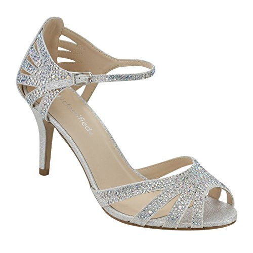 City Classified Reason Women's Strappy Open Toe Iridescent Low Heel (7, Silver) (Silver Rhinestone Heels)
