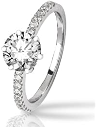 1.43 Carat 14K White Gold Classic Prong Set Diamond Engagement Ring with a 1 Carat J-K I2 Center