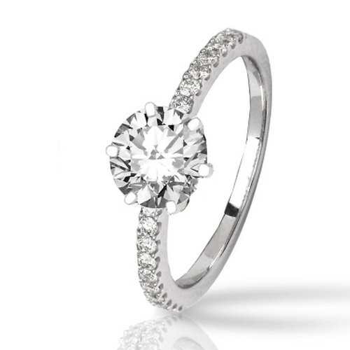 1.43 Carat Classic Prong Set Diamond Engagement Ring 14K White Gold with a 1 Carat J-K I2 Round Brilliant Cut/Shape Center