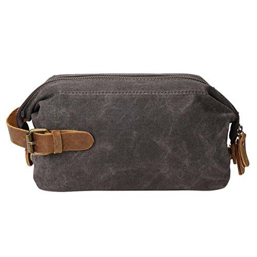 Zhhlaixing Pochette uomo Mens Clutch Bag Wallet Purse Waterproof Canvas Checkbook Wallet for Men Womens Teens Brown