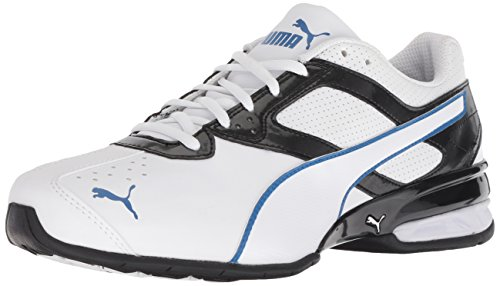 PUMA Men's Tazon 6 FM Sneaker, White Black Strong Blue, 9.5