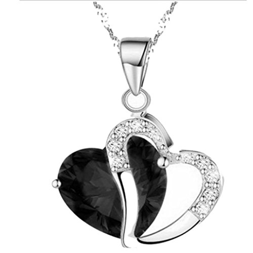 ashion Women Heart Crystal Rhinestone Silver Chain Pendant Necklace Jewelry by Laimeng (Black) ()
