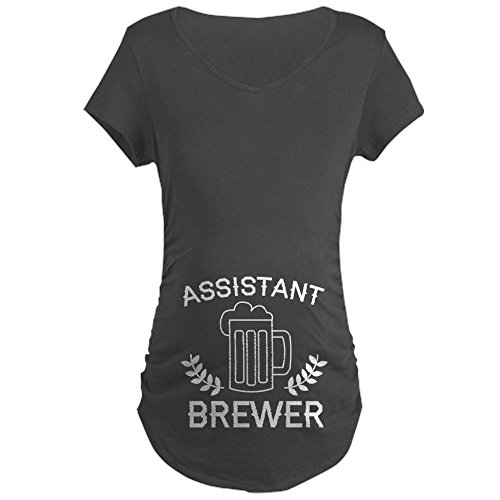 CafePress Assistant Brewer - Cotton Maternity T-Shirt, Side Ruched Scoop Neck (Brewers Side)
