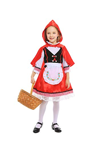 Simplecc Little Red Riding Hood Costume for Girls Kids Halloween Costume Dress Up (Red Riding Hood 2, 7-8