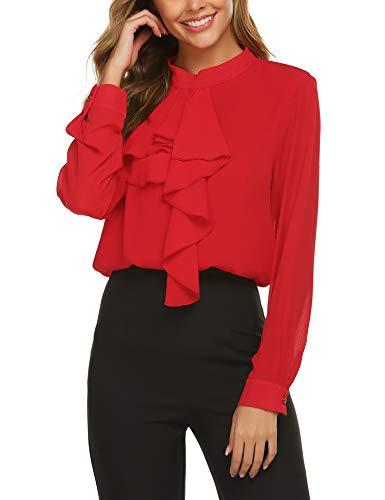 Beyove Elegante zakelijke chiffon blouse voor dames, slipshirt, opstaande kraag, met ruches, lange mouwen, knopen…