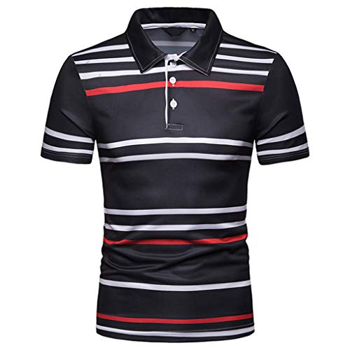 (XLnuln Men's Fashion Short Sleeve Stripe Painting Large Size Casual Top Blouse Shirts Polo Shirt Black )