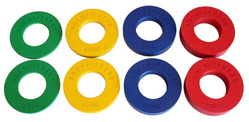 Ader Fractional Olympic Plates 1 4,1 2, 3 4,1.0Kgs .55, 1.1, 1.65, 2.2LBs 4 Pairs
