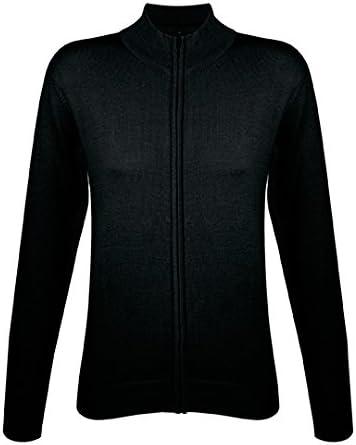 Classique et Essentiel Gilet zipp/é Femme tricot/é Col Montant Sol/'S Gordon Poignets et Bas en Bord c/ôte